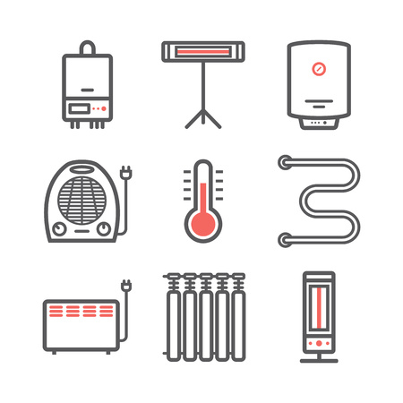 Heating and cooling icons isolated on white. Ventilation and conditioning vector