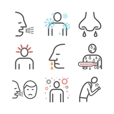 Upper respiratory tract infections URI or URTI. Symptoms, Treatment. Line icons set. Vector signs for web graphics Vector Illustration