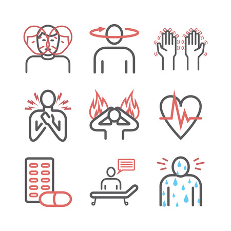 Panic disorder line icon infographic. Vector sign for web graphics