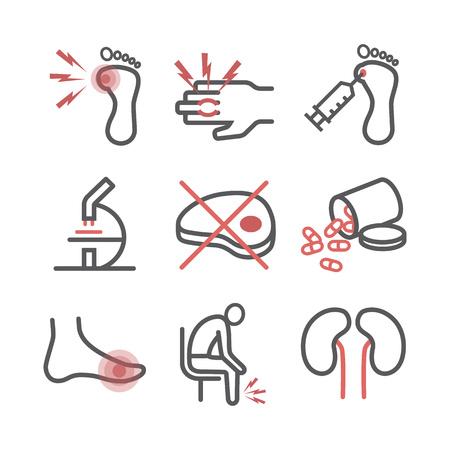 Gout. Symptoms, Treatment. Line icons set. Vector signs for web graphics