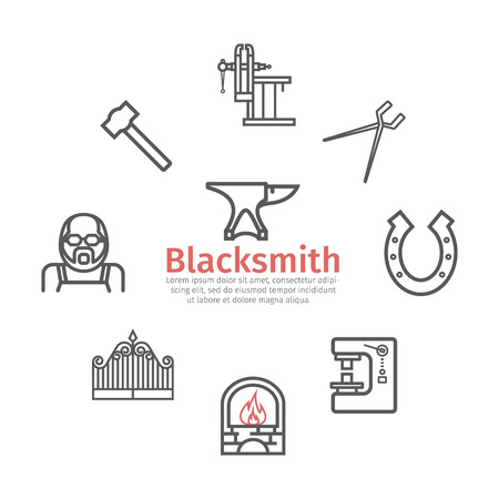 Blacksmith icons set. Vector signs for web graphics Illustration