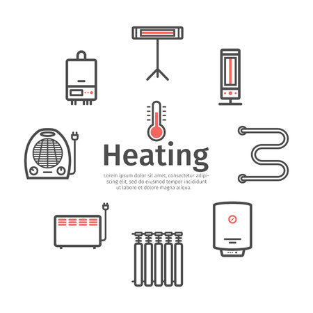 Heating and cooling banner. Ventilation and conditioning vector illustration.