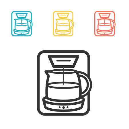 Coffee maker machine line icon . Simple vector.