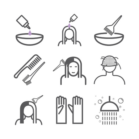 Hair coloring. Line icons set. Vector signs for web graphics.