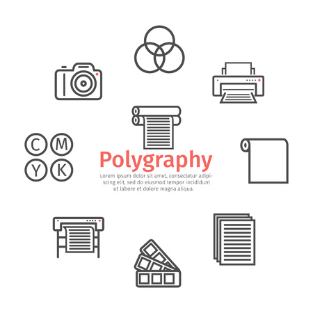 Printing polygraphy line icons. Vector signs for web graphics.