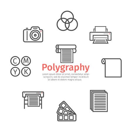 Stampa delle icone della linea di poligrafia. Segni di vettore per la grafica web. Vettoriali
