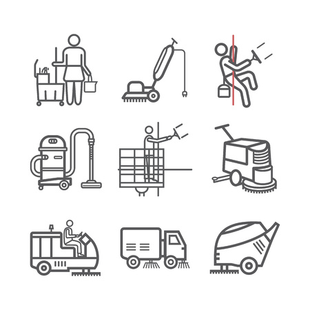 Cleaning Service line icons. Worker. Vacuum Scrubber. Sweeper Machines. Vector illustration.