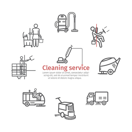 Cleaning Service banner. Worker. Vacuum Scrubber. Sweeper Machines. Vector illustration. Stock Illustratie