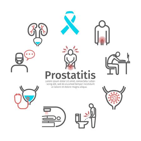 Bandera de prostatitis. Síntomas, causas, tratamiento. Signos vectoriales para gráficos web.