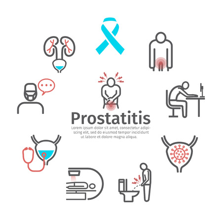 Prostatitis banner. Symptoms, Causes, Treatment. Vector signs for web graphics.