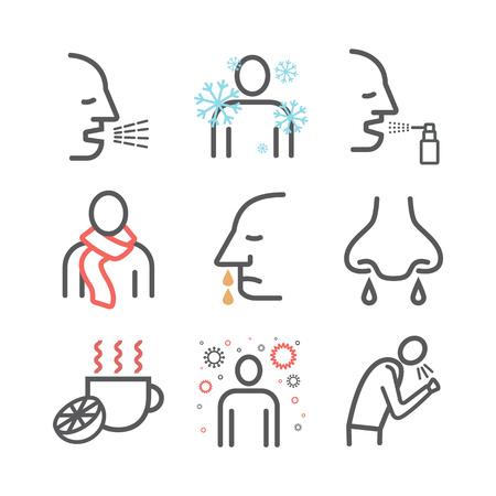 Flu Symptoms. Influenza. Treatment. Line icons set.