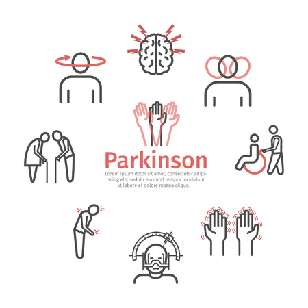 Parkinson's disease. Symptoms, Treatment. Line icons set. Vector signs for web graphics. Ilustração