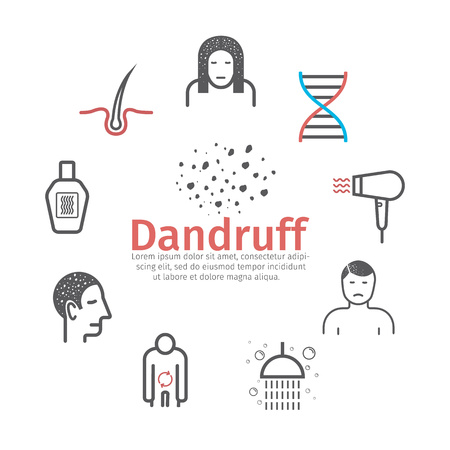 Dandruff banner. Vector signs for web graphics.
