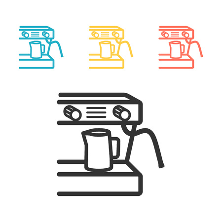 Coffee maker machine icon flat. Simple vector symbol.