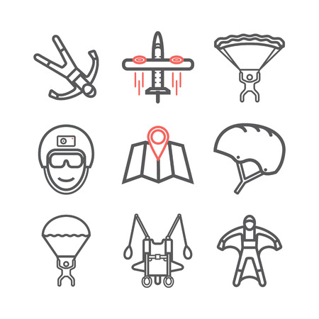 Parachuting. Skydiving. Flat icon set. Vector skydiving concept for banners, flyers, cards, web and mobile applications