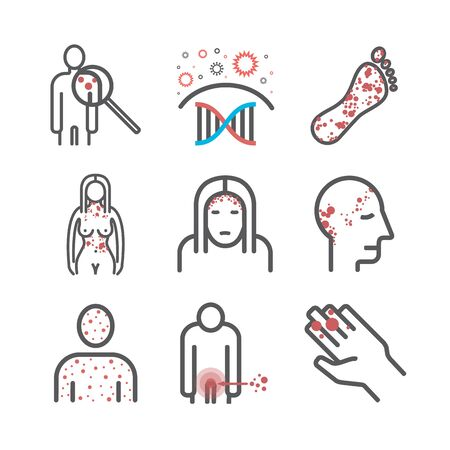 Psoriasis. Symptoms, Treatment. Line icons set. Vector signs for web graphics