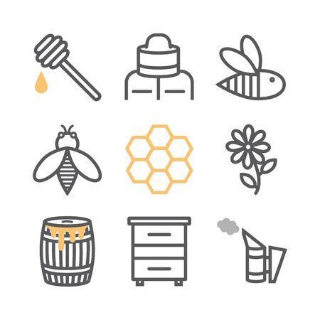 Jeu d'icônes de ligne d'apiculture. Icônes de miel, style de ligne fine.