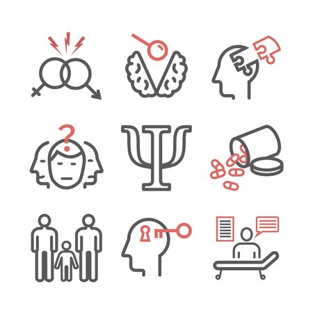 Psychology line icons set. Conceptual signs. Vector illustration
