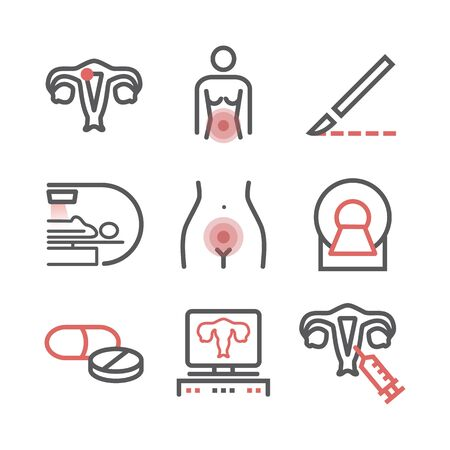 Cervical Cancer. Symptoms, Causes, Treatment. Line icons set. Vector signs for web graphics.