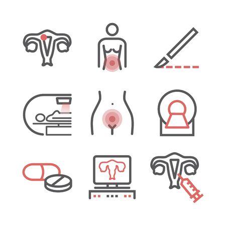 Uterine cancer. Symptoms, Causes, Treatment. Line icons set. Vector signs for web graphics. Vektorové ilustrace