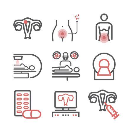 Cervical Cancer. Symptoms, Causes, Treatment. Line icons set. Vector signs for web graphics. Vektorové ilustrace
