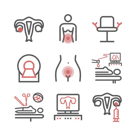 Ovarian Cancer. Symptoms, Causes, Treatment. Line icons set. Vector signs for web graphics.