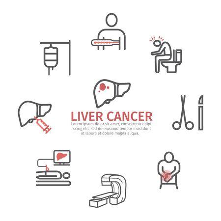 Liver Cencer Symptoms. Causes. Diagnostics. Line icons set. Vector signs for web graphics