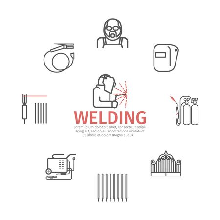 Welding banner. Line icons set. Vector signs for web graphics.
