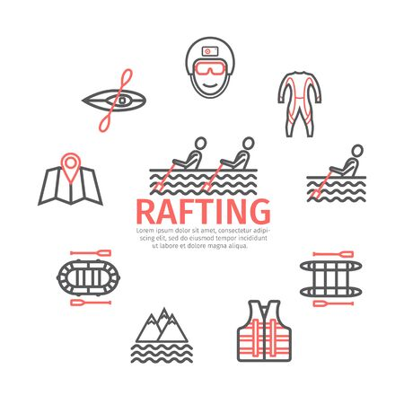 Rafting banner, line icons set. Vector signs for web graphics.