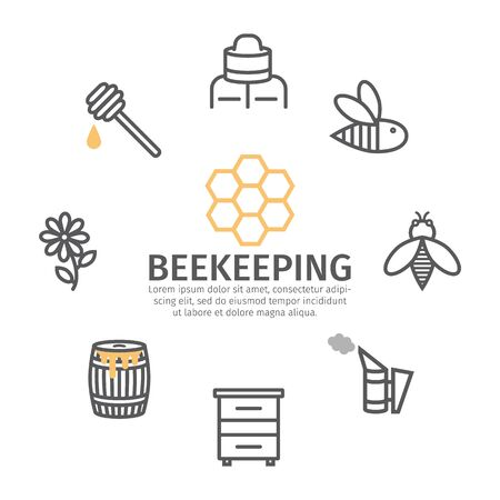 Beekeeping banner line icon set. Honey icons, thin line style.