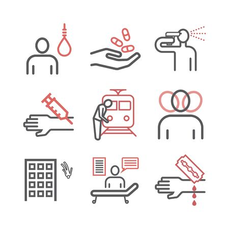 Suicide line icons infographic. Vector signs for web graphics. Stock fotó - 132036825