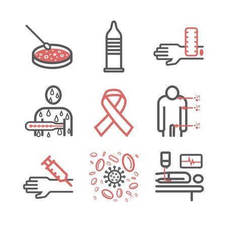 HIV AIDS Symptoms, Treatment. Line icons set. Vector illustration
