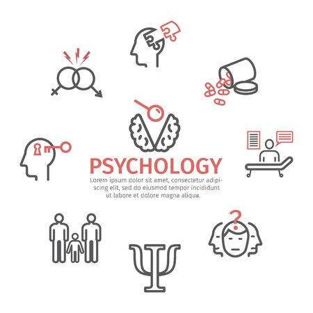 Psychology banner, line icons set. Conceptual signs. Vector illustration