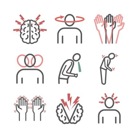 Concussion. Symptoms, Treatment. Line icons set. Vector signs for web graphics. 向量圖像
