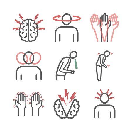 Concussion. Symptoms, Treatment. Line icons set. Vector signs for web graphics. Illustration