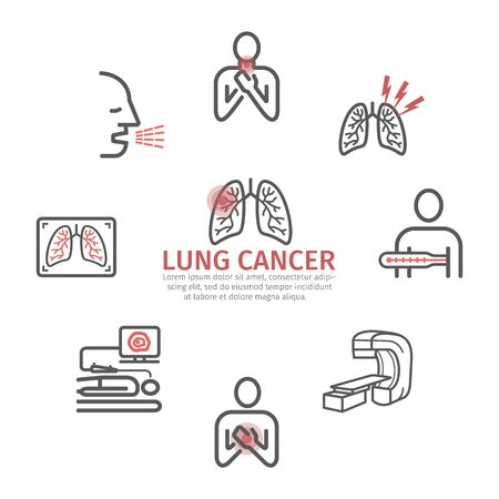 Lung Cancer banner . Symptoms, Causes, Treatment. Line icons set. Vector signs for web graphics.