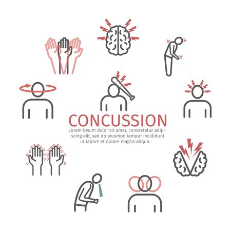 Concussion banner. Symptoms, Treatment. Line icons set. Vector signs for web graphics.