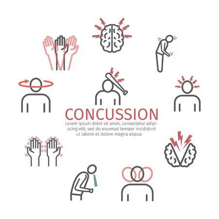 Concussion banner. Symptoms, Treatment. Line icons set. Vector signs for web graphics.