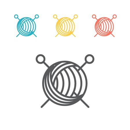 Yarn ball and needles line icon. Vector sign. 向量圖像