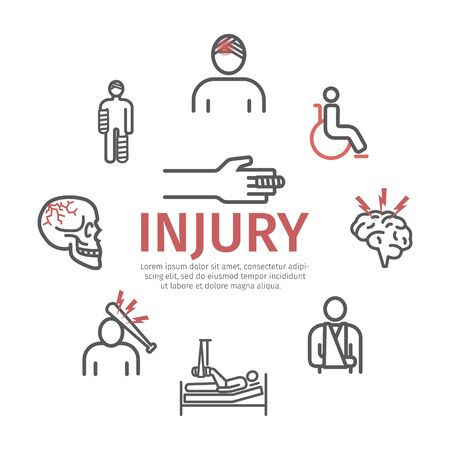 Injury banner, line icons set. Infographic. Vector signs for web graphics.