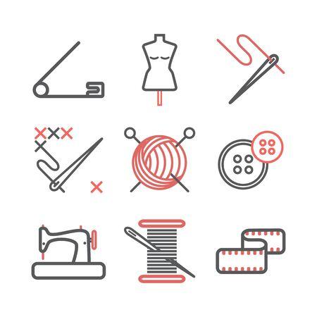 Infographie de couture, icônes de ligne de couture. Signes vectoriels pour les graphiques Web. Vecteurs