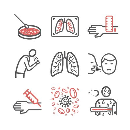 Tuberculosis Symptoms, Treatment. Line icons set. Vector signs for web graphics.