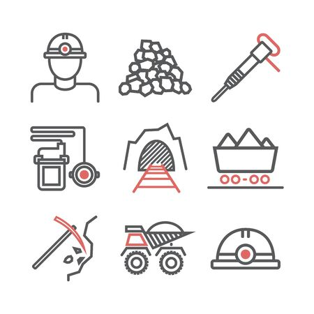 Coal mining. LIne icon set. Vector signs for web graphics. Vectores
