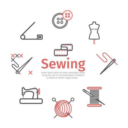 Bannière de couture, infographie, icônes de ligne de couture. Signes vectoriels pour les graphiques Web.