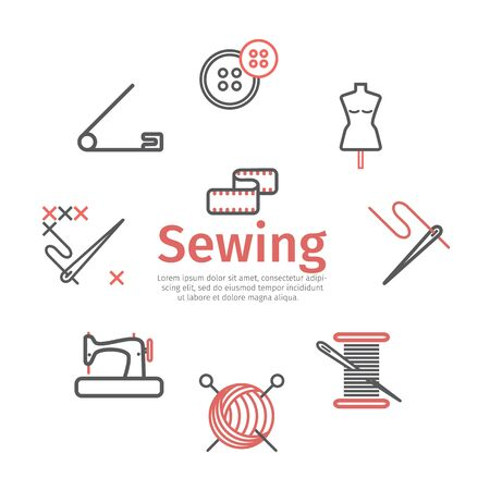 Sewing banner, infographics, Tailoring line icons. Vector signs for web graphics.