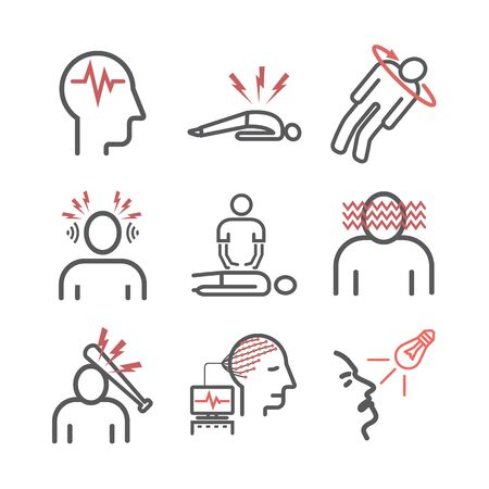 Epilepsy. Symptoms, Treatment. Line icons set. Vector signs for web graphics. Çizim