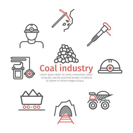 Coal mining banner. Line icon set. Vector signs for web graphics.