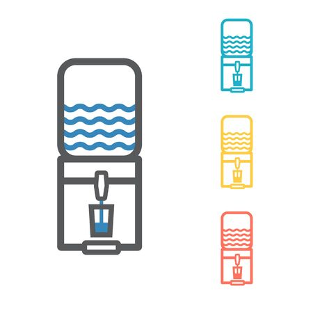 The water package with pump line icon. Vector signs for web graphics.