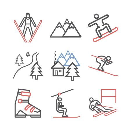 Ski resort icons. line icon. Vector sports signs.