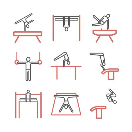 Artistic gymnastics line icon. Equipment. Vector sports signs. Illustration